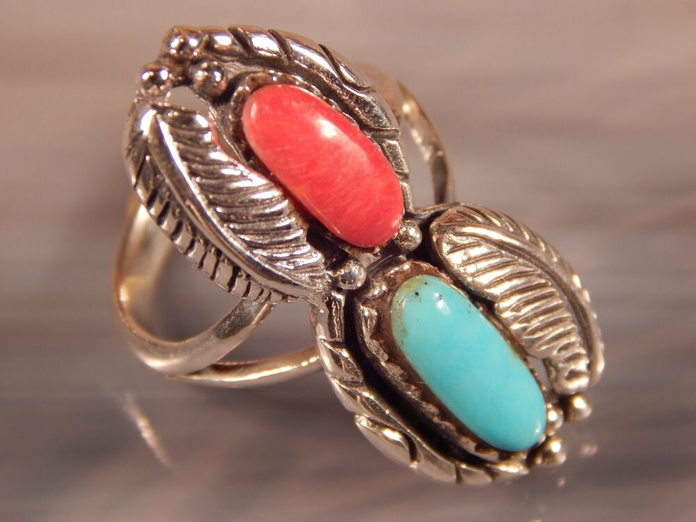 Navajo Turquoise Coral Ring