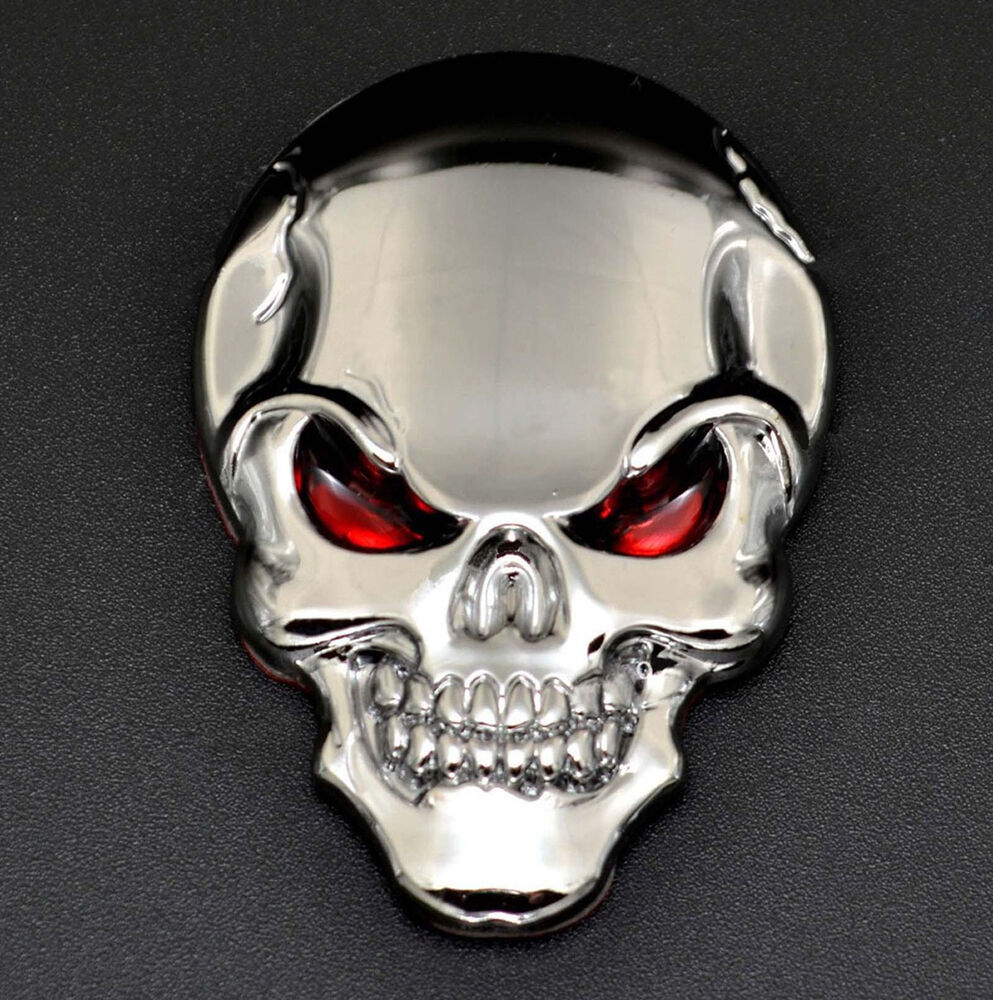 auto motorrad aufkleber logo 3d skull totenkopf sch del metall emblem sticker ebay. Black Bedroom Furniture Sets. Home Design Ideas