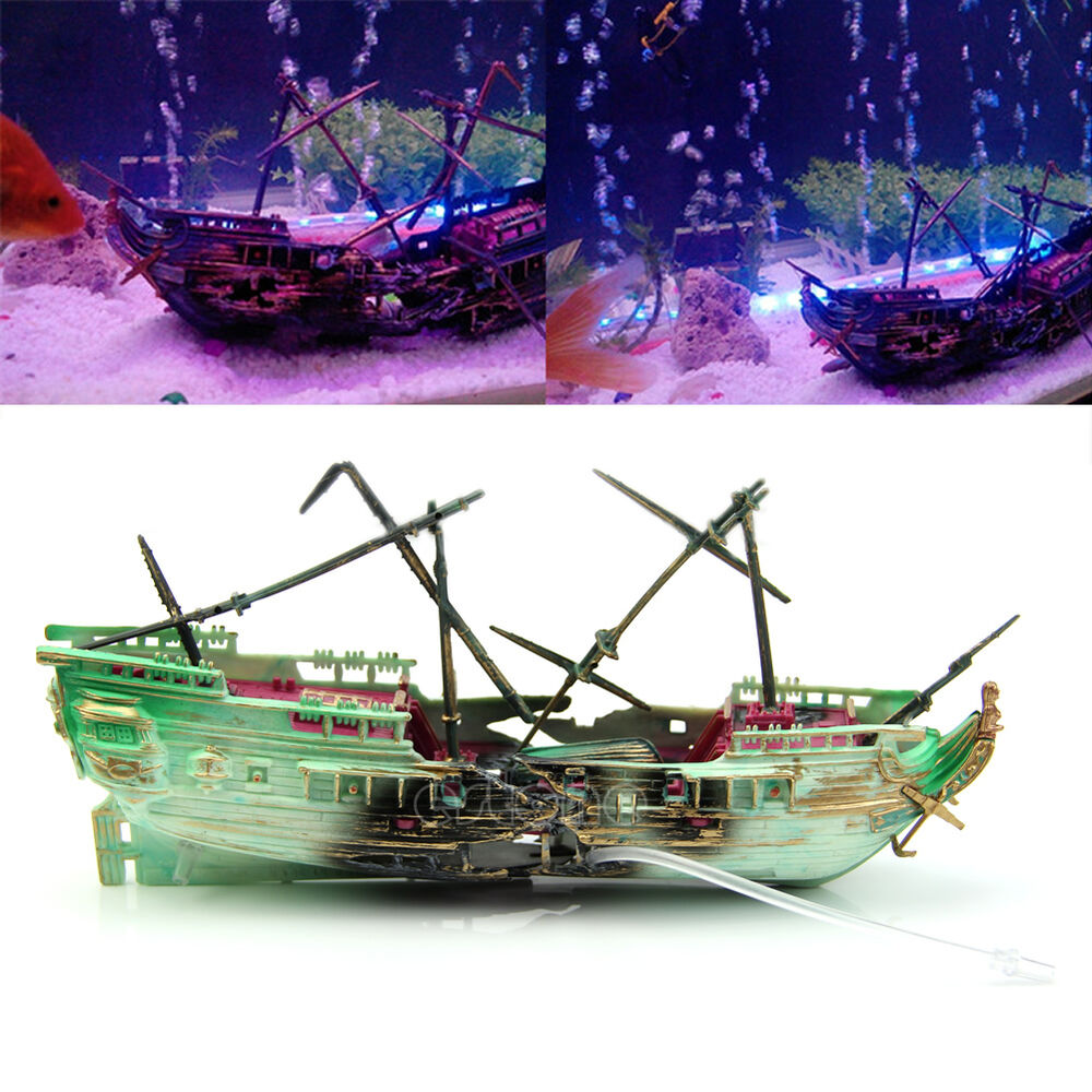 Aquarium ornament wreck boat sunk ship air split shipwreck for Aquarium decoration ship