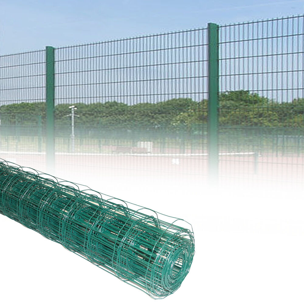1 2M Green PVC Coated Steel Mesh Fencing Wire Garden Galvanised Fence Border