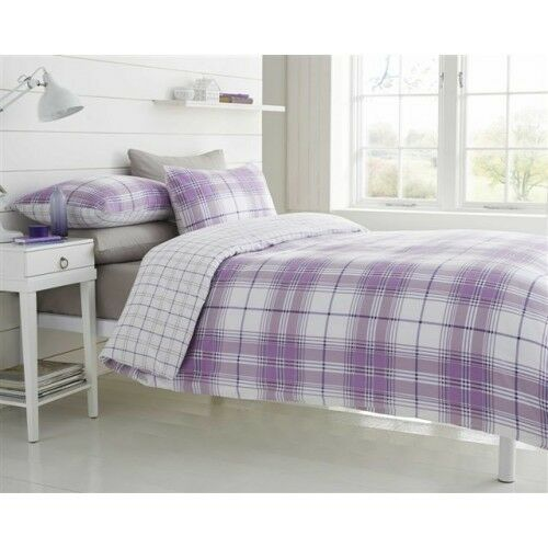 Single Bed Size Duvet Set White Tartan Print Squares