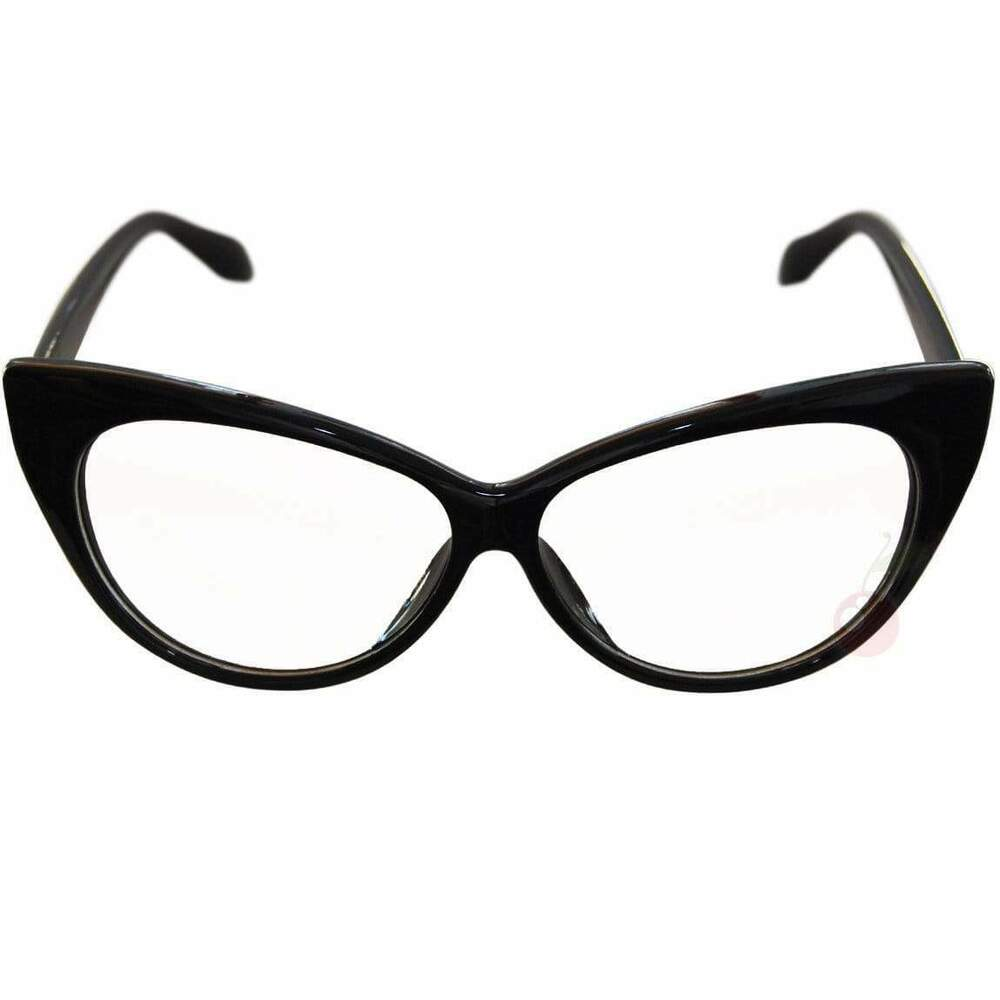 50's Cat Eye Clear Glasses Black Retro Rockabilly Pin Up
