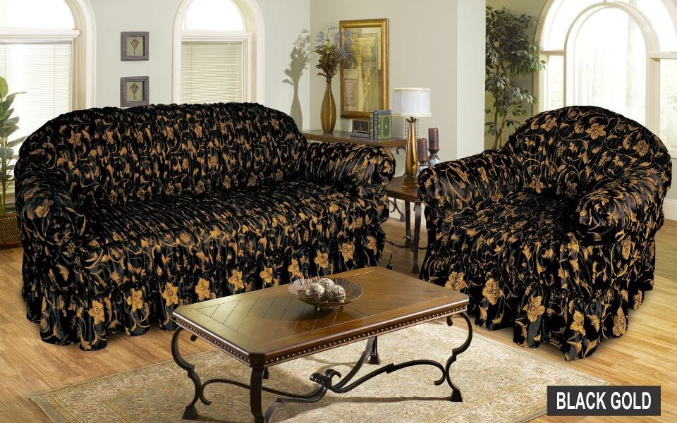 Jacquard BLACK GOLD Sofa Cover Settee Slip Cover 1 2  : s l1000 from www.ebay.co.uk size 960 x 600 jpeg 153kB