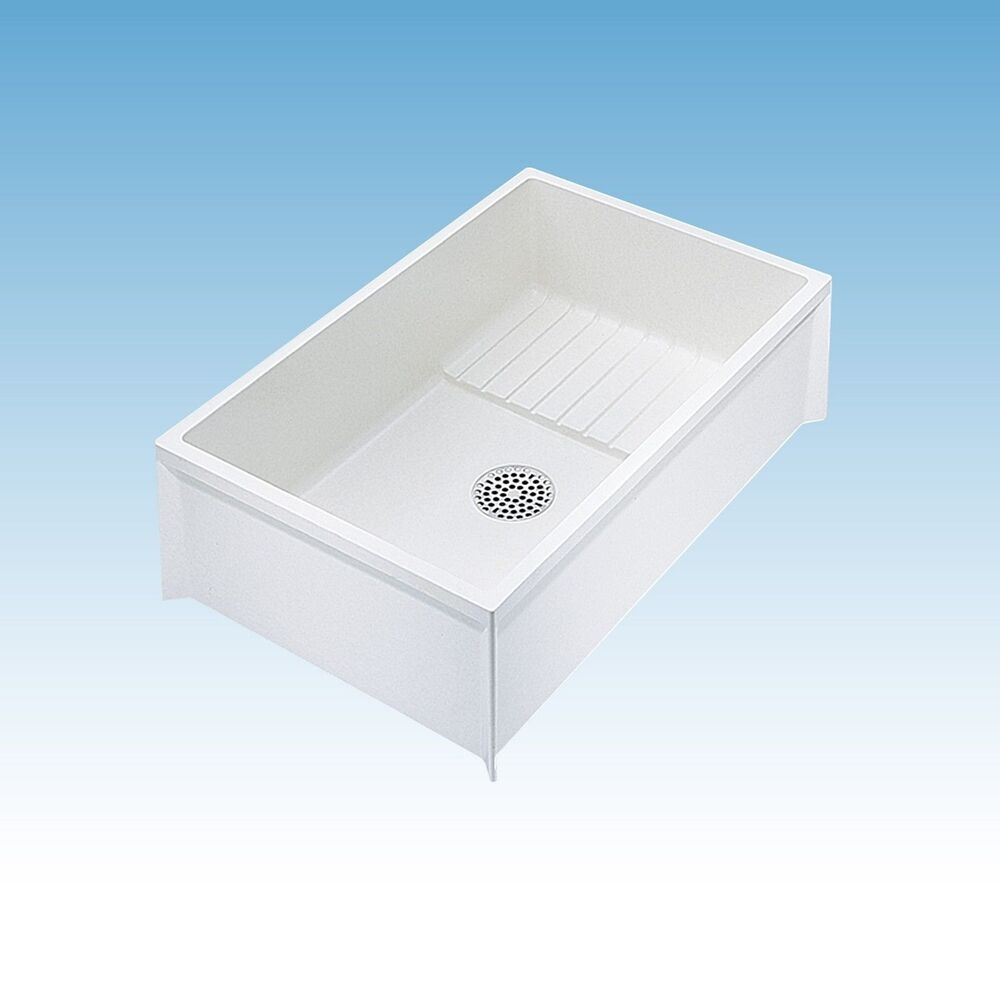 MOP SINK SERVICE BASIN Single Bowl White Floor Mount Center Drain 36 x ...