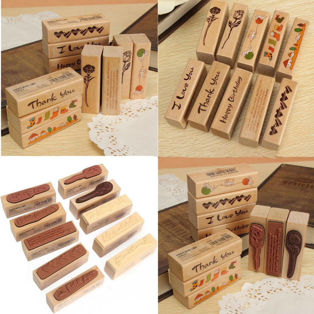 Made love floral thank you happy birthday wooden rubber for Custom craft rubber stamps