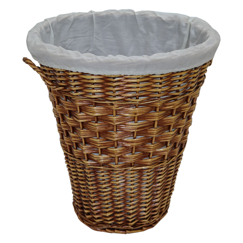 Large Willow Wicker Round Linen Laundry Basket Clothes ...