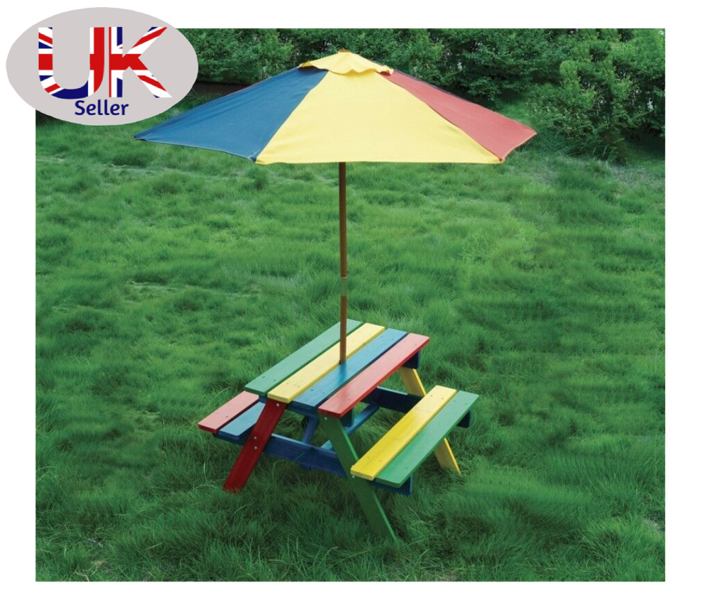 Children 39 S Wooden Rainbow Garden Picnic Table Bench Parasol Set Kids Ebay