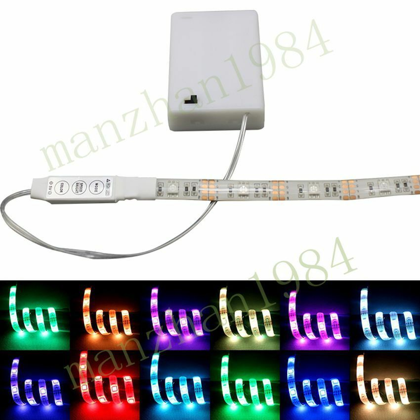 new portable rgb waterproof led strip lights with battery box 50 200cm ebay. Black Bedroom Furniture Sets. Home Design Ideas