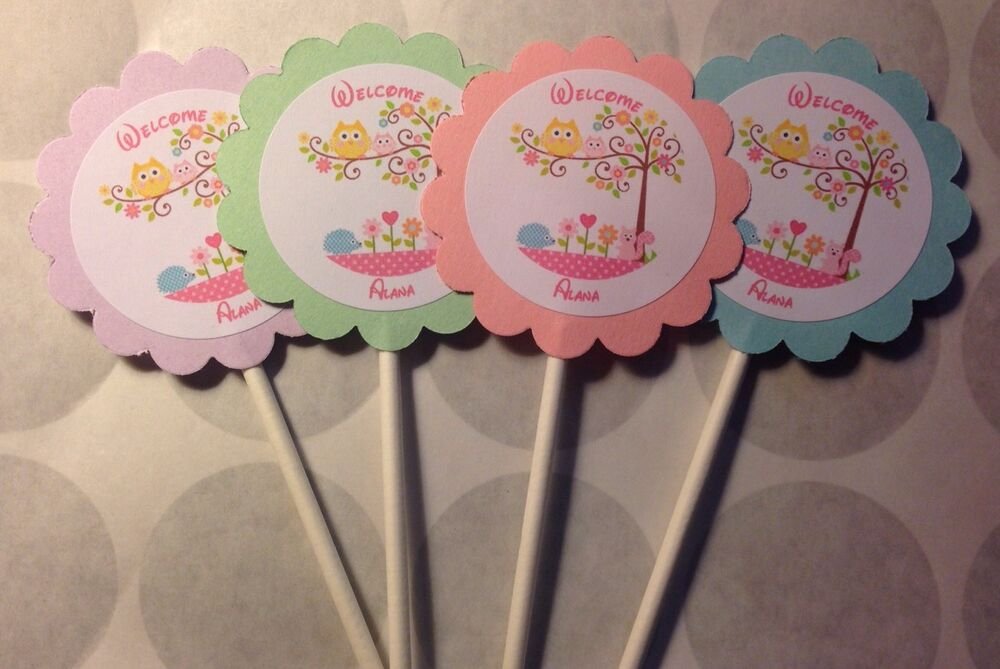 Happi tree owl baby shower customized cupcake toppers for Baby shower cupcake picks decoration