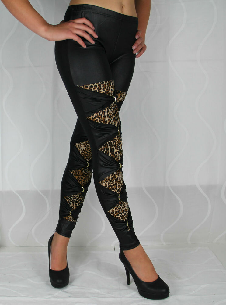 mc 93001 sexy leggings leggins leder schwarz tiger leopard. Black Bedroom Furniture Sets. Home Design Ideas