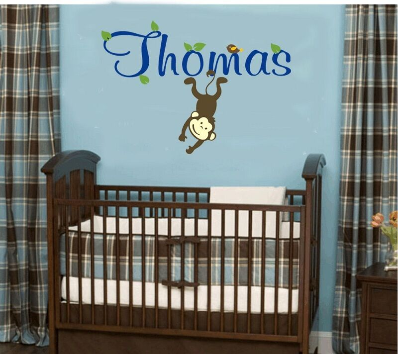 Wall stickers custom baby name monkey bird decal removable for Baby room sticker decoration