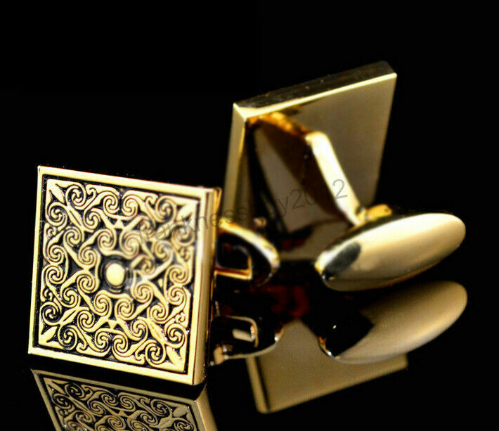 Mens Wedding Party Gifts: Royal Gold Square Mens Wedding Party Gift Shirt Cufflinks