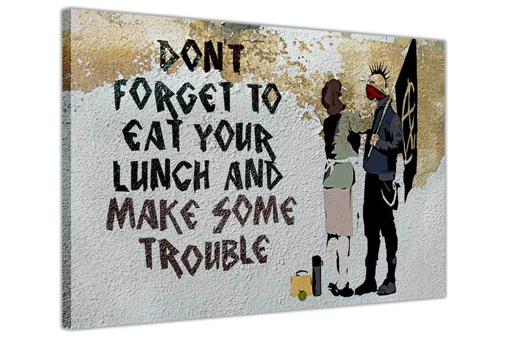 Funny banksy prints anarchist and mother canvas wall art for Phrases murales