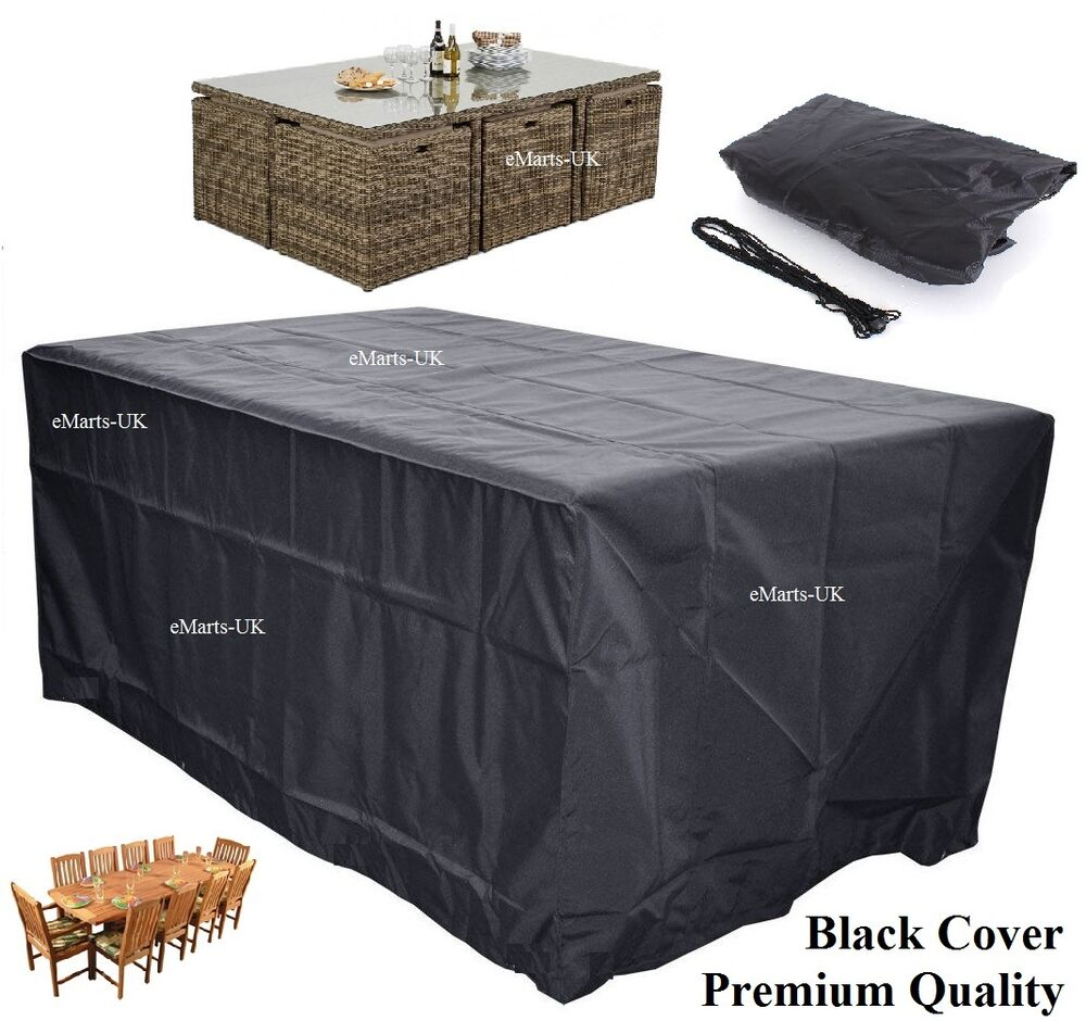 Waterproof garden patio furniture cover rectangular for Outdoor furniture covers in black