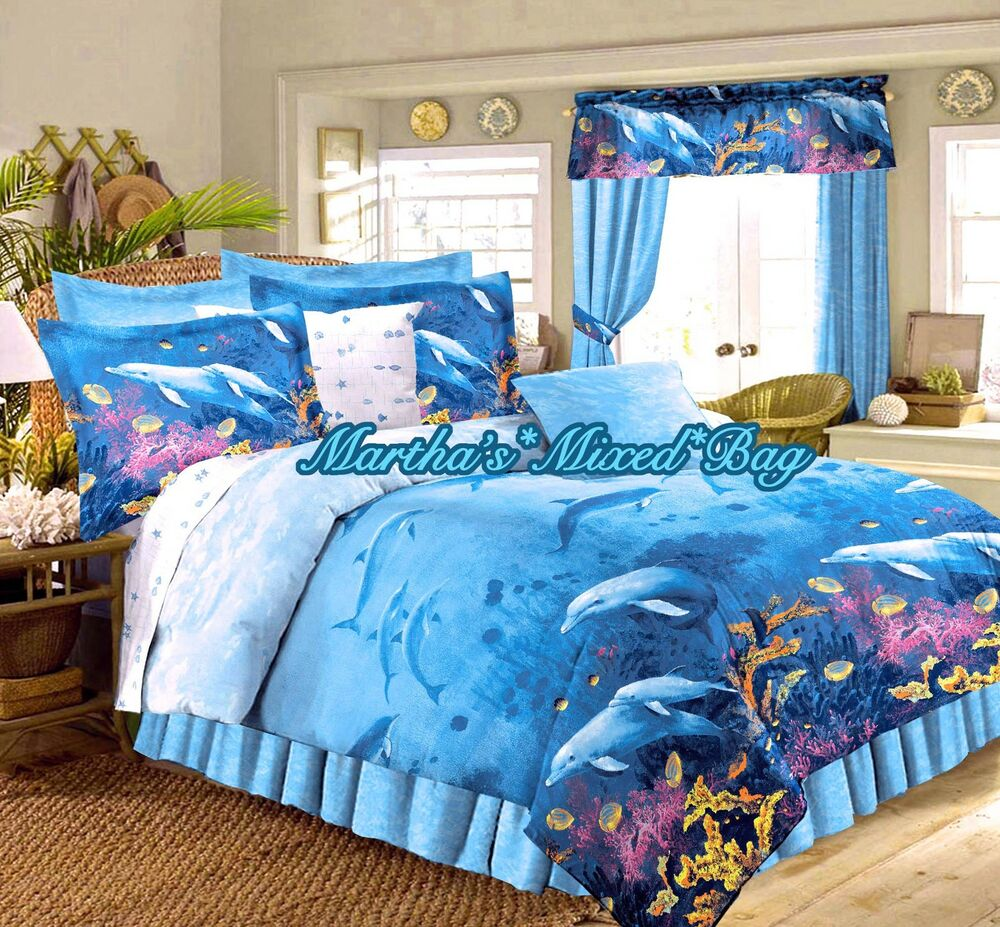Dolphin Bedding Tropical Beach Ocean Blue King Full Size
