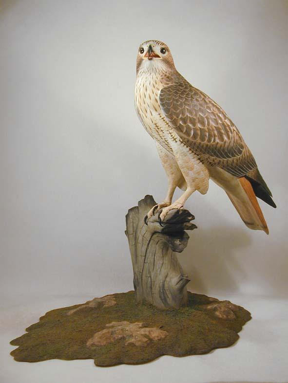 Life size red tailed hawk original wood carving ebay