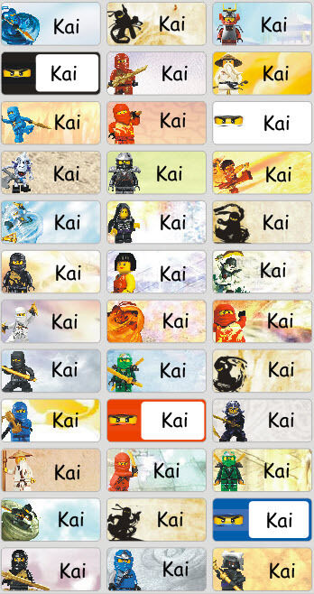 personalized waterproof name labels stickers 36 ninjago day care school ebay. Black Bedroom Furniture Sets. Home Design Ideas