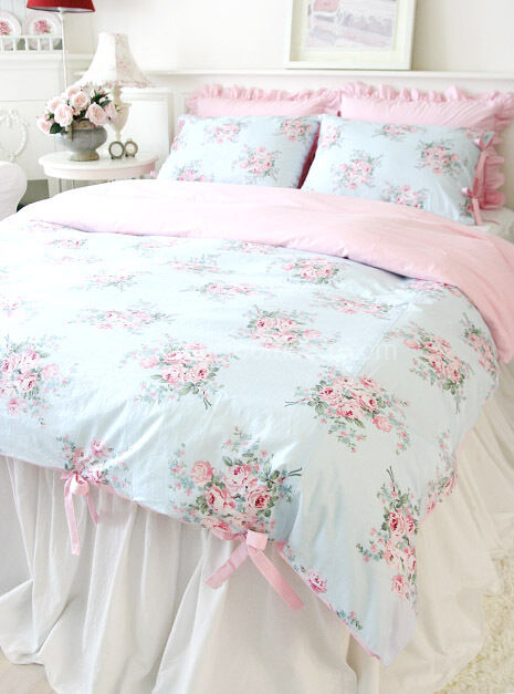 shabby chic cottage floral quilt duvet cover set blue pink check ties queen size ebay. Black Bedroom Furniture Sets. Home Design Ideas