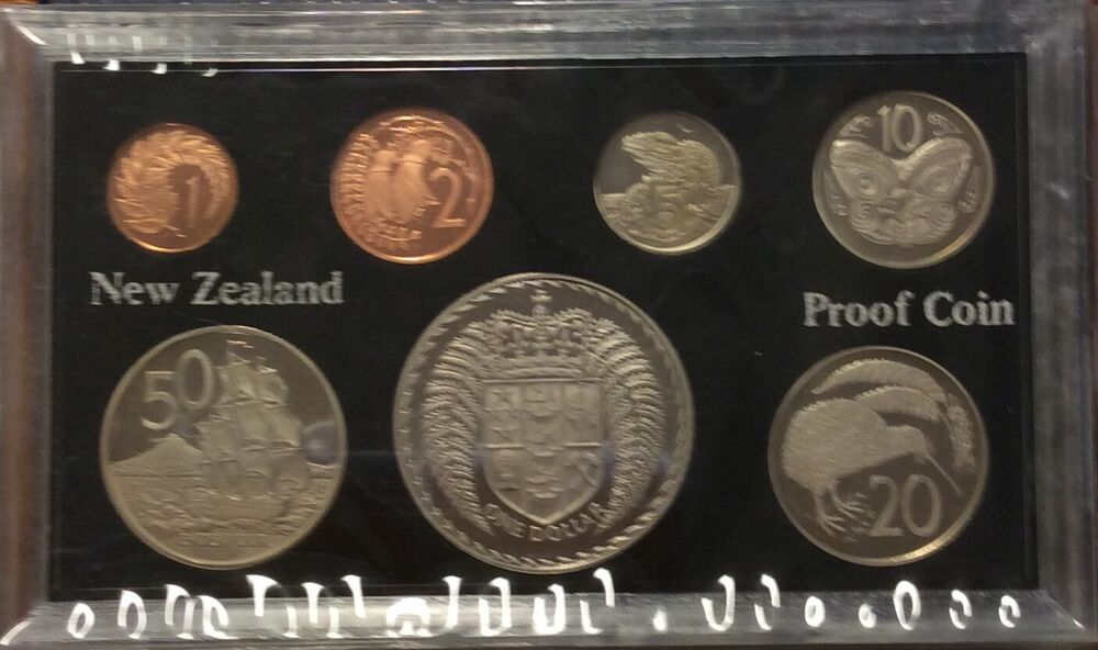1976 new zealand 7 coin proof year set ebay. Black Bedroom Furniture Sets. Home Design Ideas