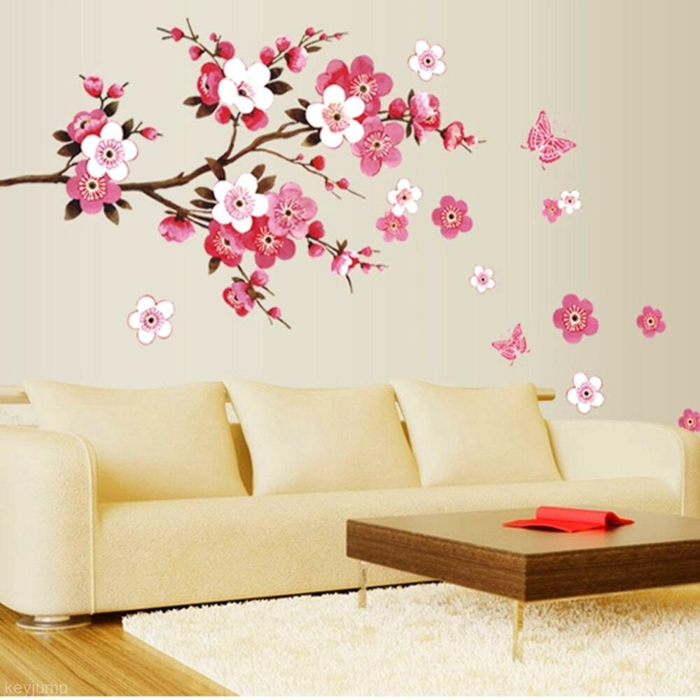 Diy living room bedroom wall sticker flower floral blossom - Wall sticker ideas for living room ...