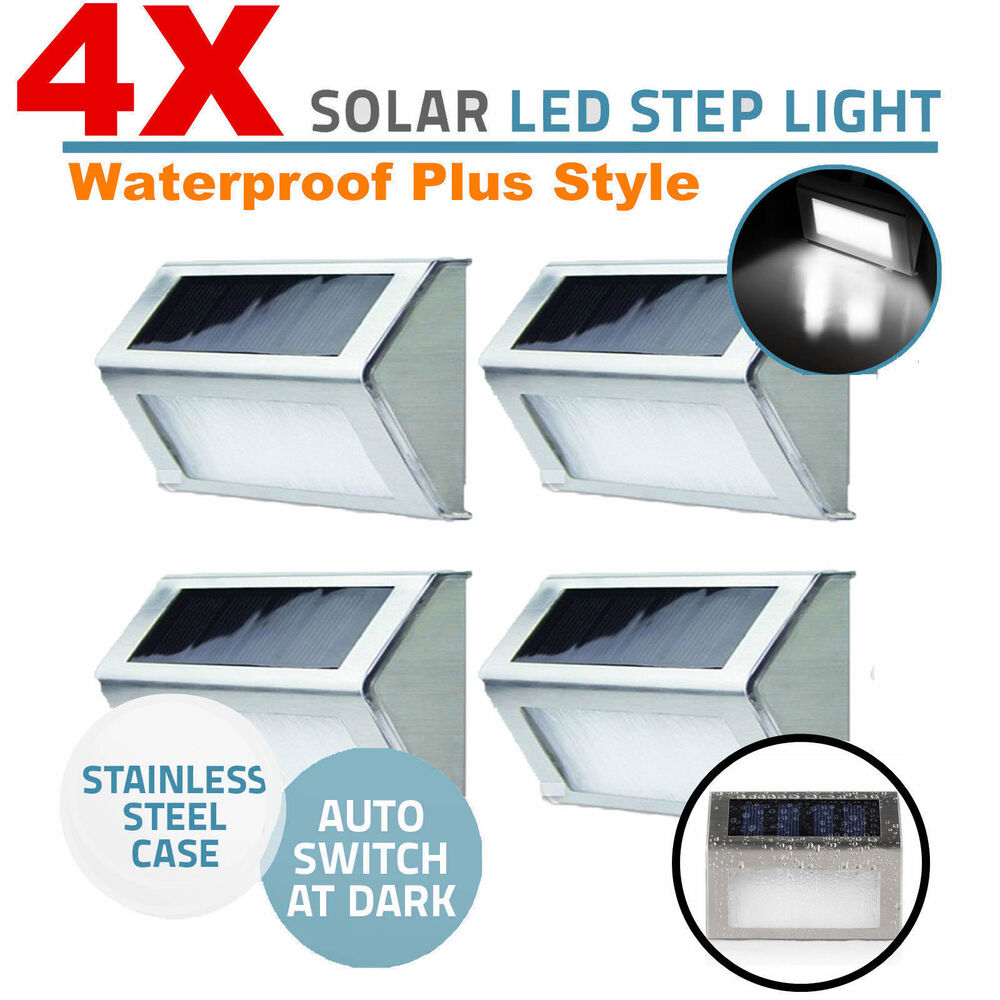 4x solar led stainless steel garden patio step stair deck wall lights us 2015 ebay - Solar deck lights for steps ...