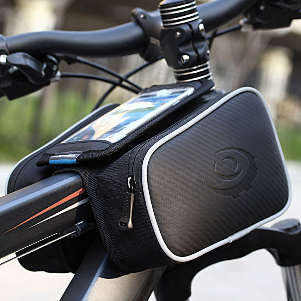 Cycling Bike Bicycle Front Top Tube Frame Pannier Double Bag Pouch Phone Holder Ebay