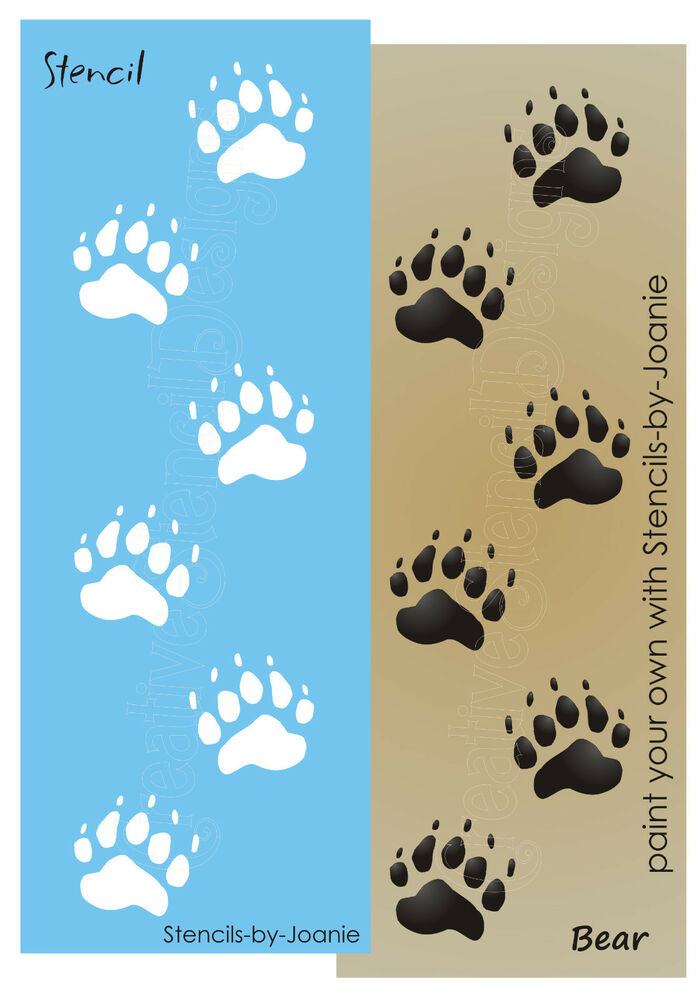 Bear stencil tracks paw print border cabin lodge rustic for Bear footprints template