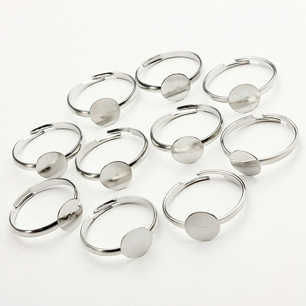 10 20 50 100 silver plated adjustable flat ring bases