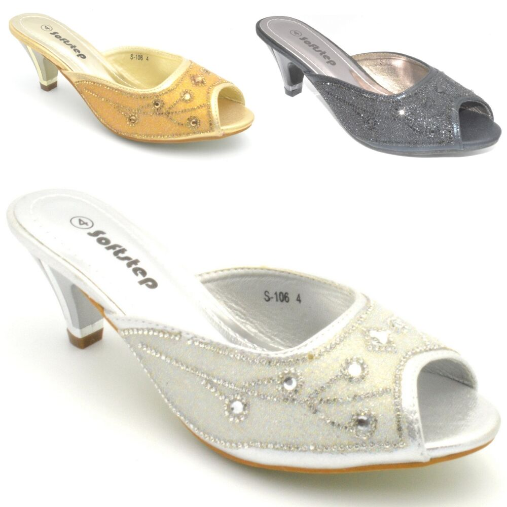 womens diamante silver mid heel prom mules shoes