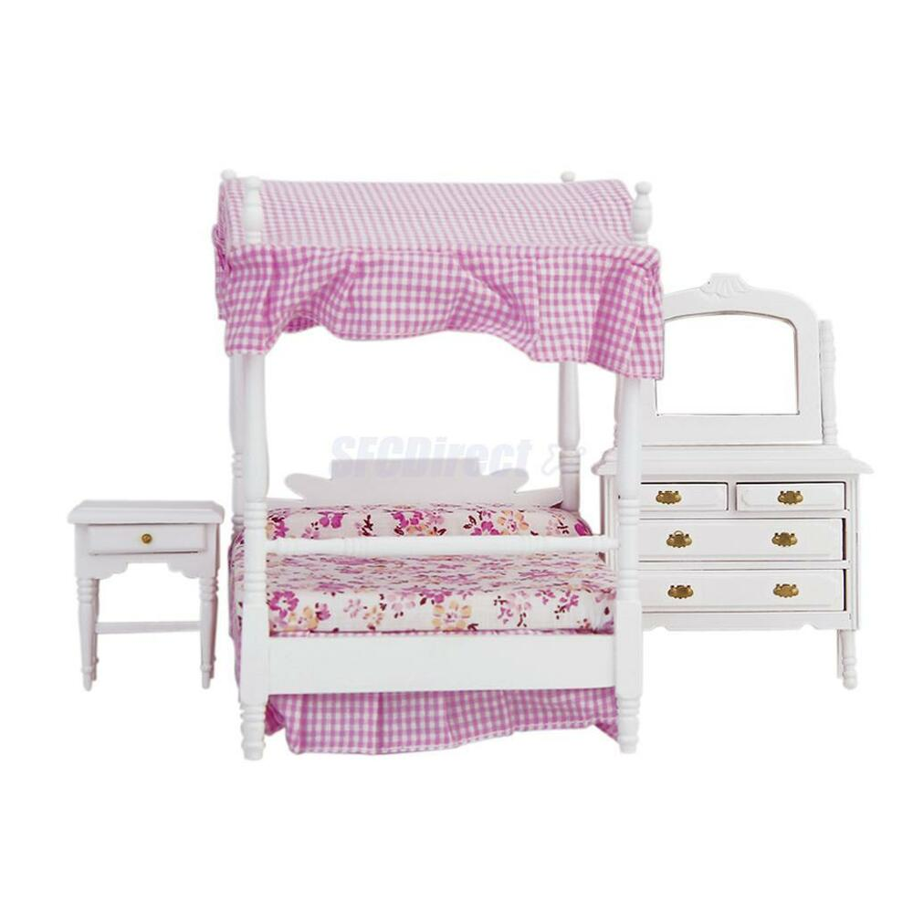 12th Miniature Canopy Bed Dresser Table Nightstand