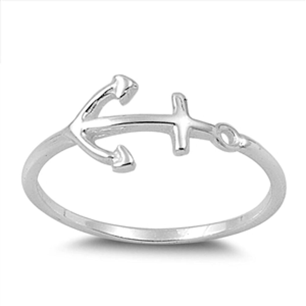 Womens Anchor Fashion Beautiful Ring New 925 Sterling Silver Band Sizes 2 13