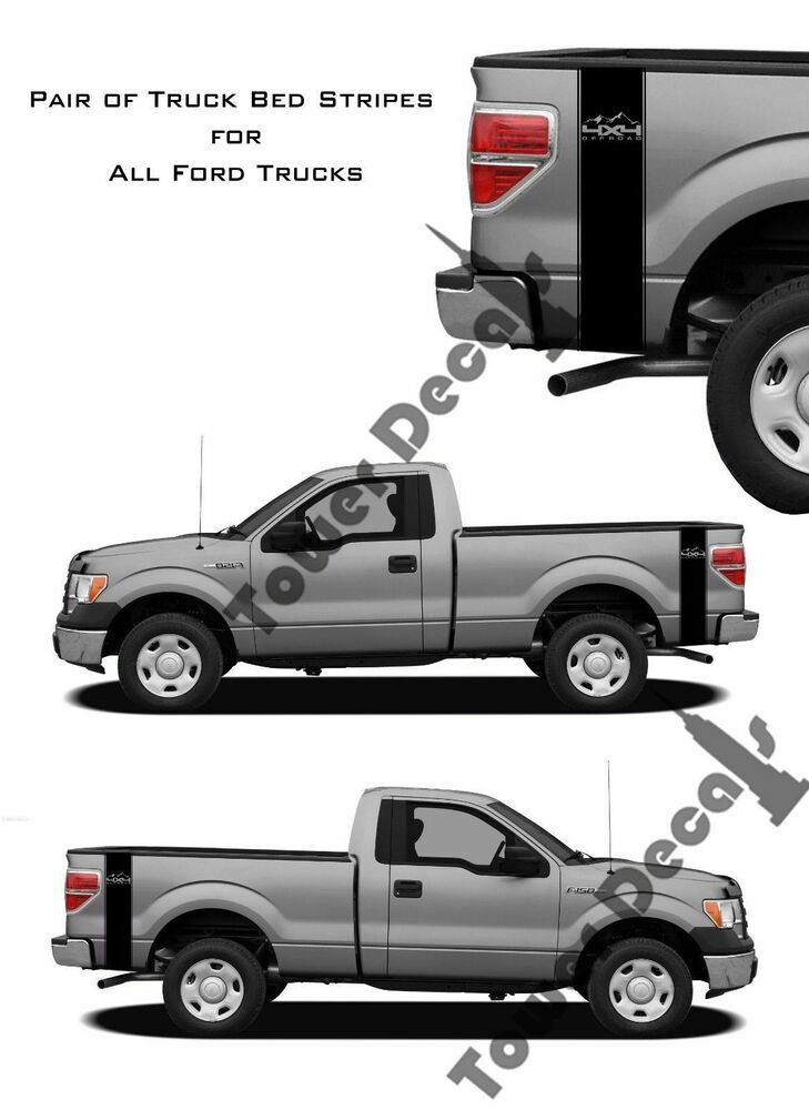 4x4 mountain truck bed side stripes vinyl decals fits ford. Black Bedroom Furniture Sets. Home Design Ideas