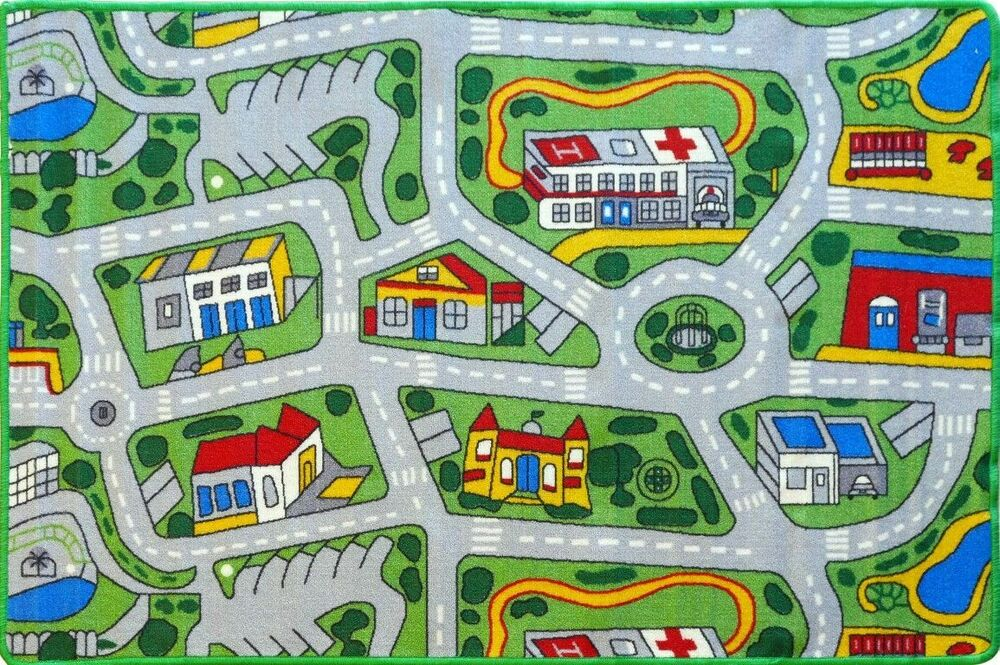city roads kids rug 5 sizes childrens car play mat streets tracks free post ebay. Black Bedroom Furniture Sets. Home Design Ideas