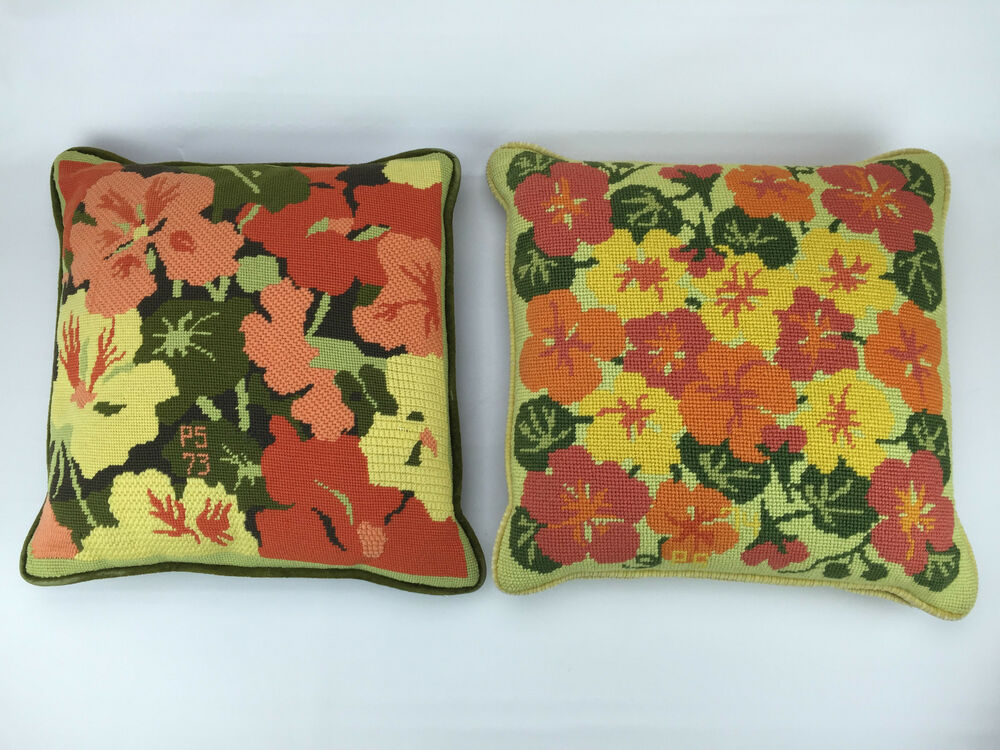 2 vtg needlepoint pillows floral couch sofa wool