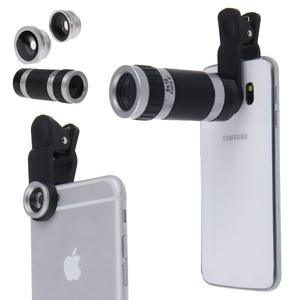 camera lens for iphone 4in1 fish eye wide angle macro 8x telephoto lens 1153