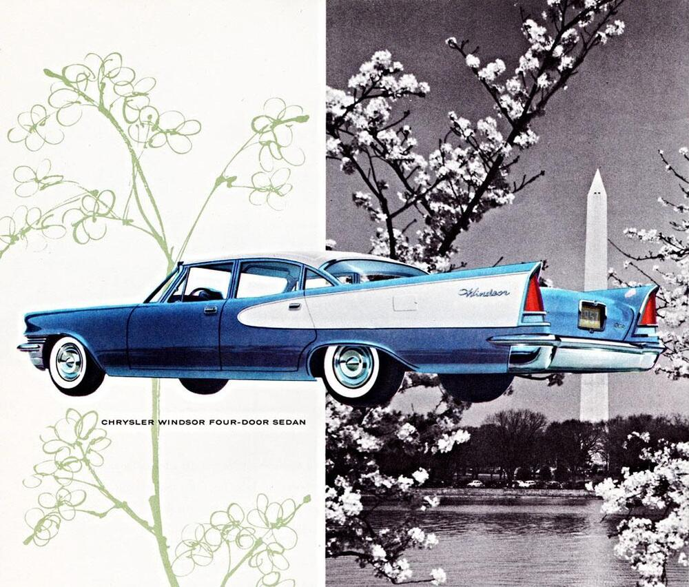 Old print blue white 1957 chrysler windsor 4 door sedan for 1957 chrysler saratoga 4 door
