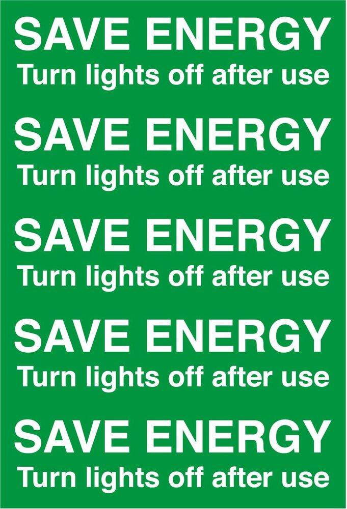 5 x save energy turn off lights light switch stickers