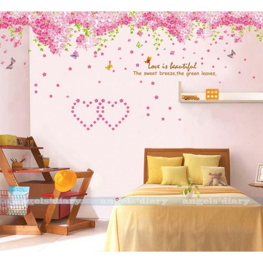 Pink Sakura Flower Wall Sticker Removable Wallpaper Girl