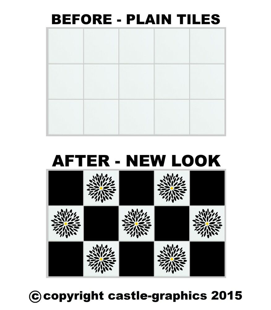 """Squares + Flowers Stickers Stencils For 6"""" x 6 Inch 150mm ..."""