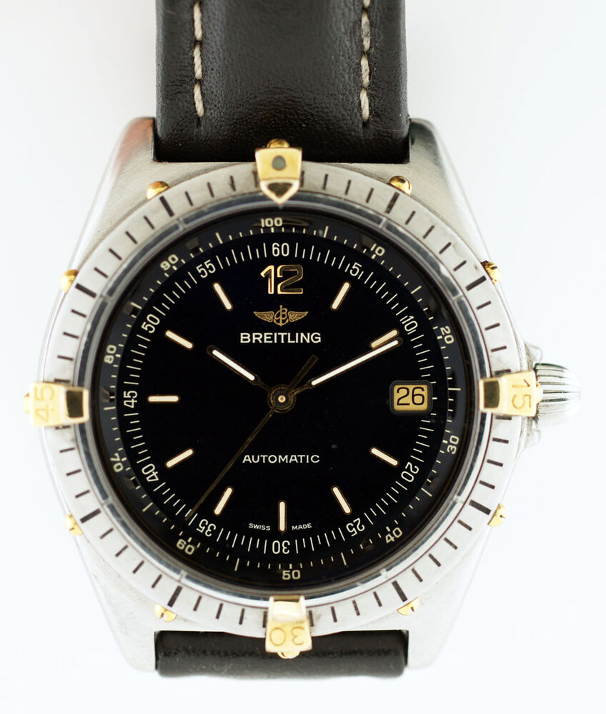 Breitling antares automatic in stainless steel 18k yellow gold 81970 2414 ebay for Breitling automatic