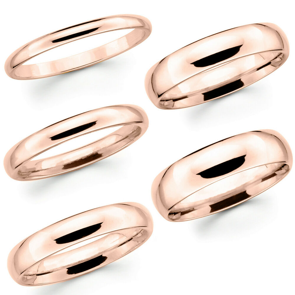 Solid 10k Pink Rose Gold 2mm 3mm 4mm 5mm Comfort Fit Men
