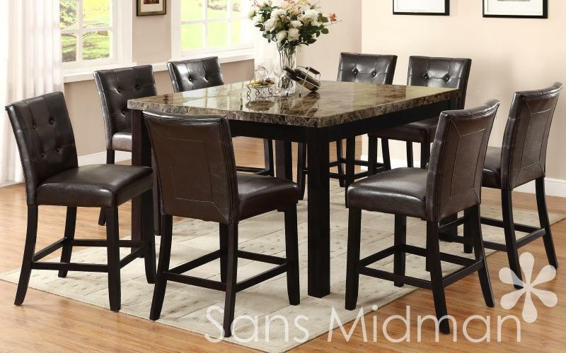 New Brenton Genuine Marble Dining Furniture Set 9pc 36