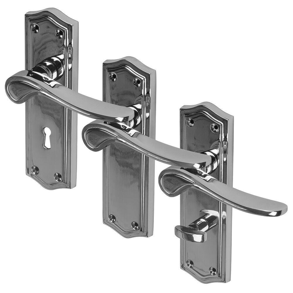 Lever Handle Lock : Chrome door handle lever polished mortice latch