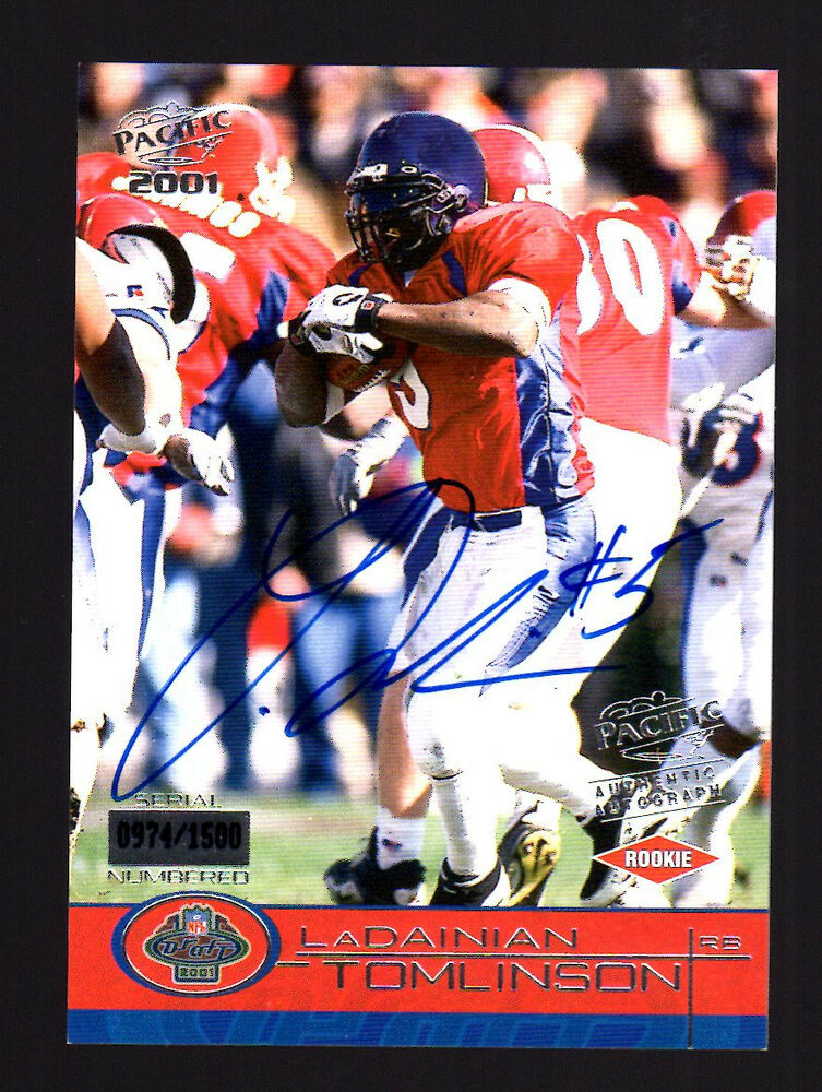 2001 Pacific Ladainian Tomlinson Rookie Autograph Chargers