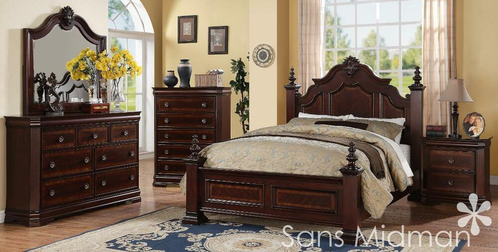 Size Bed Set 6 Pc Traditional Cherry Wood Bedroom Furniture EBay