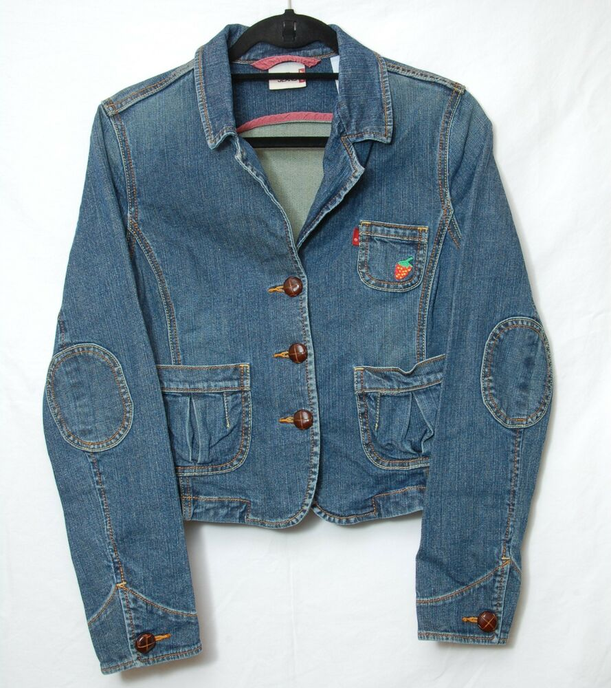 Women s levis red tab blue denim jean jacket embroidered