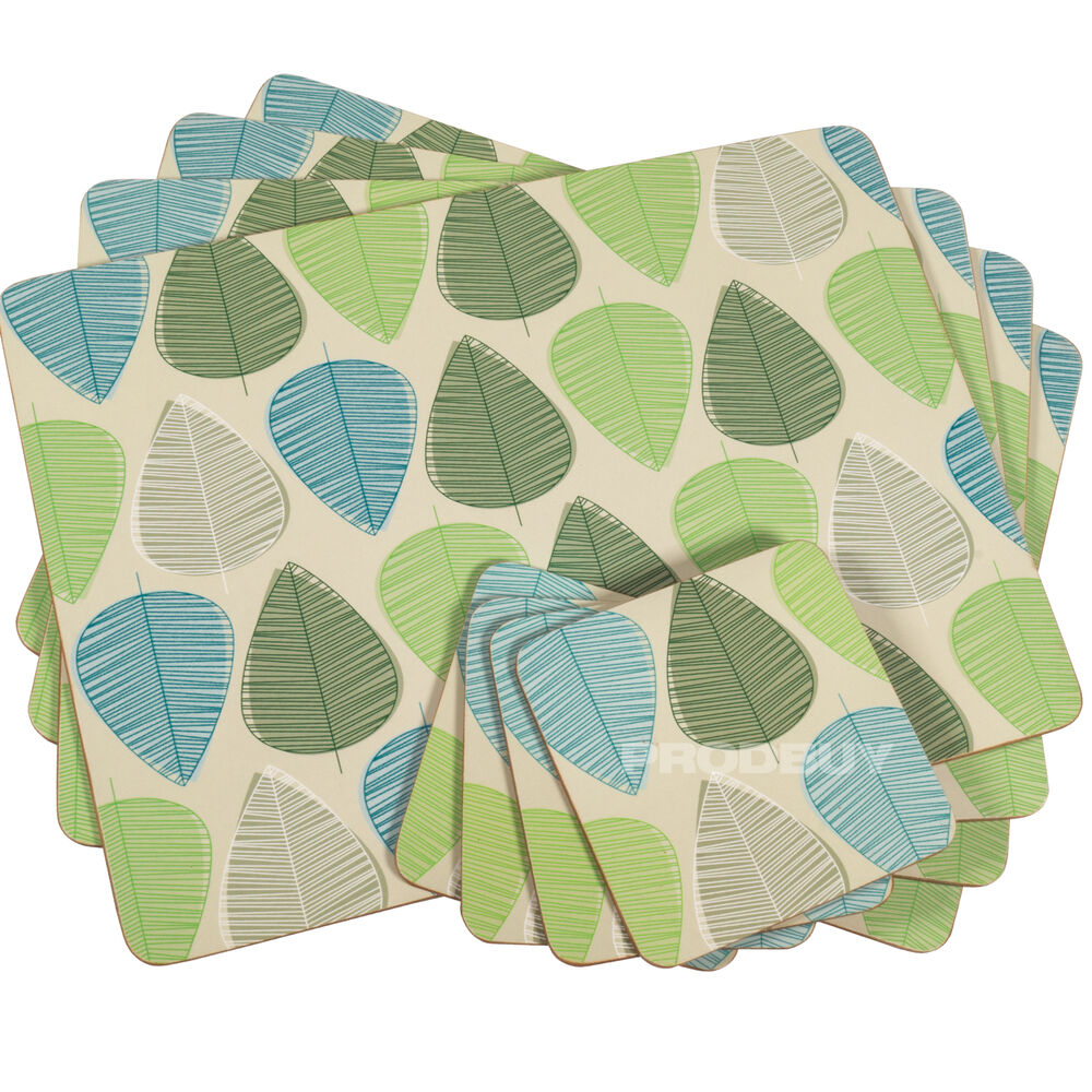 Set Of 4 Beige Blue amp Green Leaf Dining Table Placemats