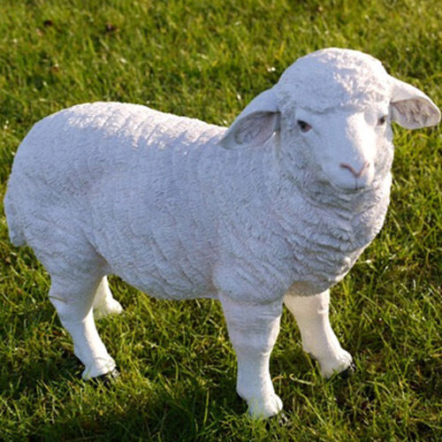 Resin white sheep lamb animal garden patio ornament for Lawn ornaments for sale