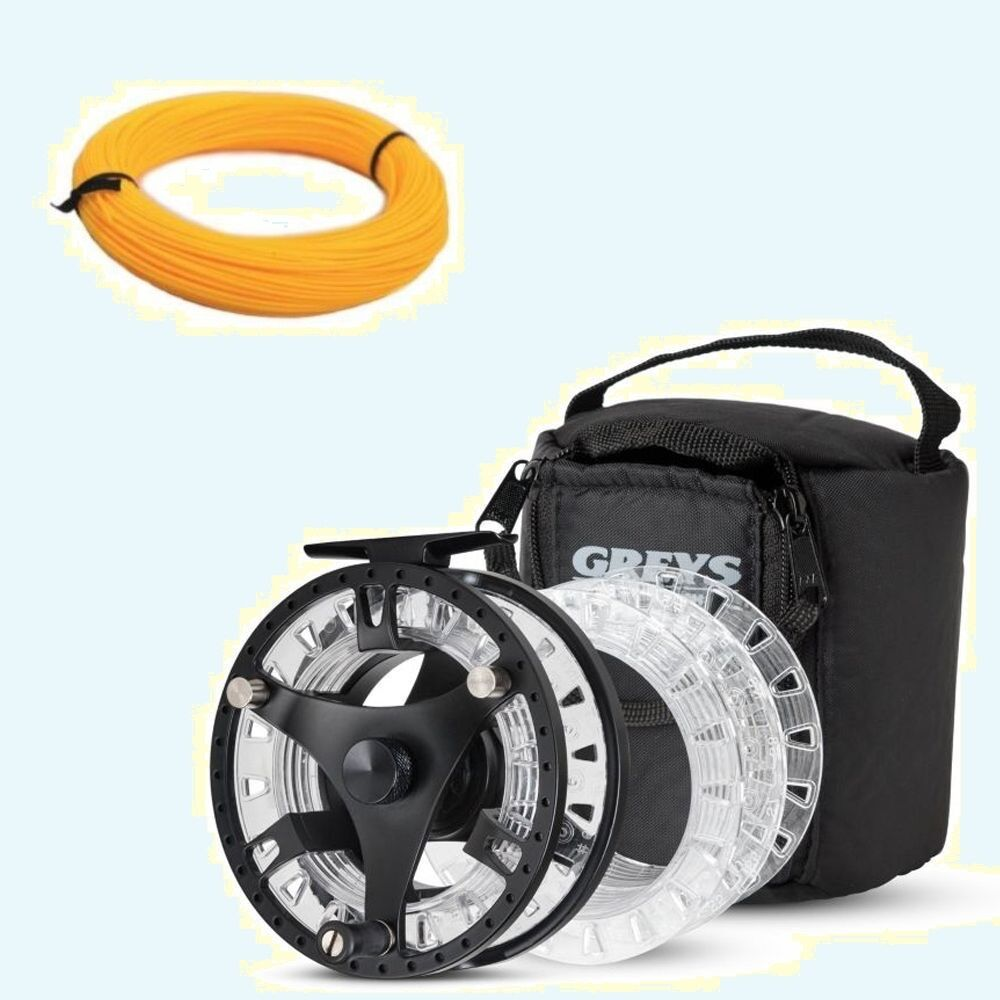 New greys gts 500 fly fishing reel 3 spools case with for Fly fishing reels ebay