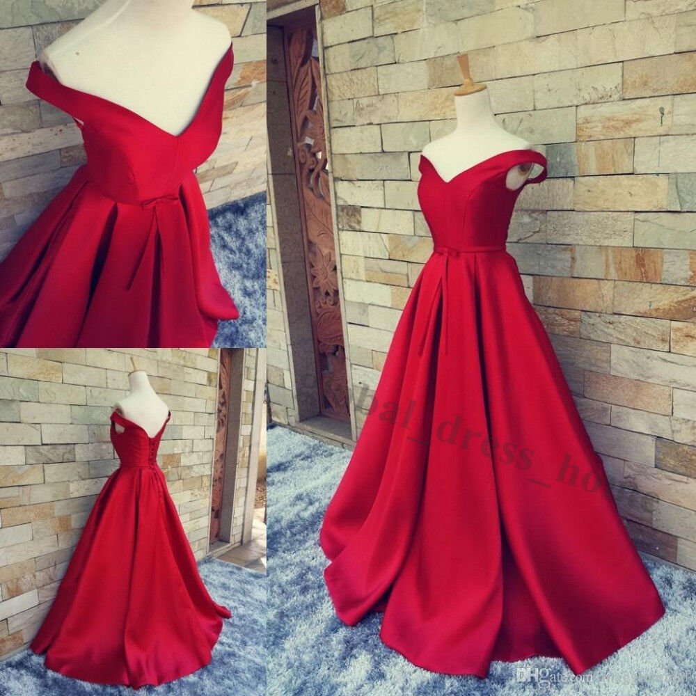 Sexy Off The Shoulder Red Satin Prom Party Evening Gown